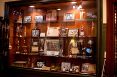 Buck Watson's display case of the YMCAs history