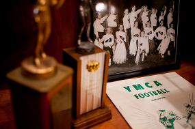 Various memorabilia from the YMCAs long history in the building.