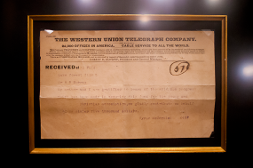 One of the original telegrams from Cyrus McCormick in 1909