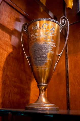 One of the old trophies found in the building during renovations.