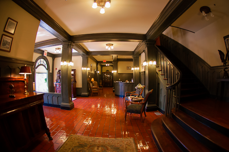 The restored foyer of the building, based off of an old postcard that was found.